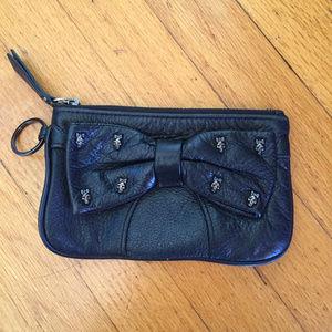 Betsey Johnson Leather Skull Bow Wristlet Clutch